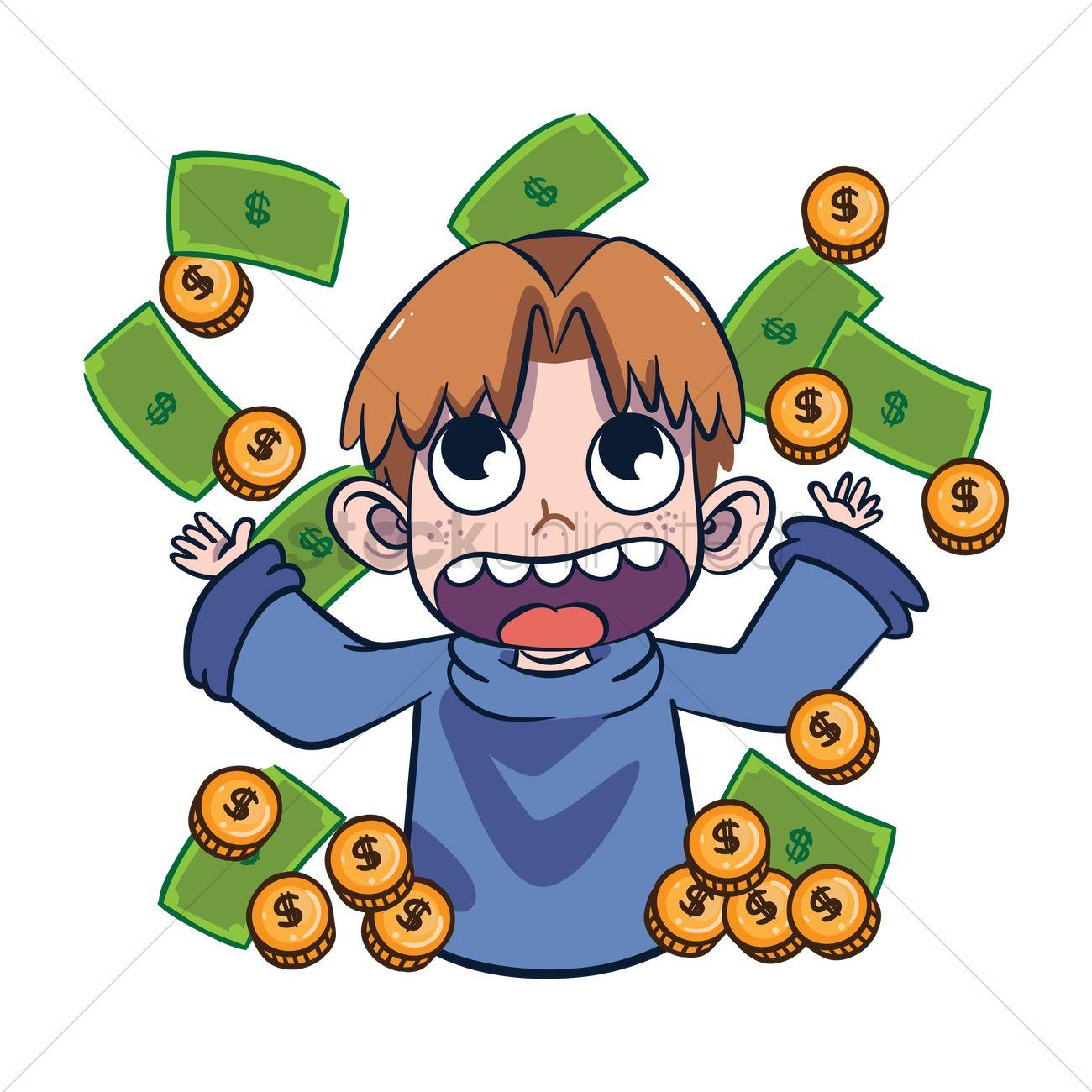 1300x1300 Cartoon Character With Raining Money Vector Image