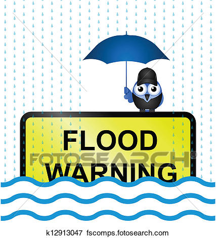 427x470 Clip Art Of Flood Warning Sign K12913047