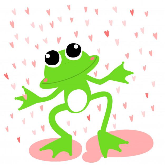 626x626 Green Frog Love Rainy Day Vector Vector Premium Download