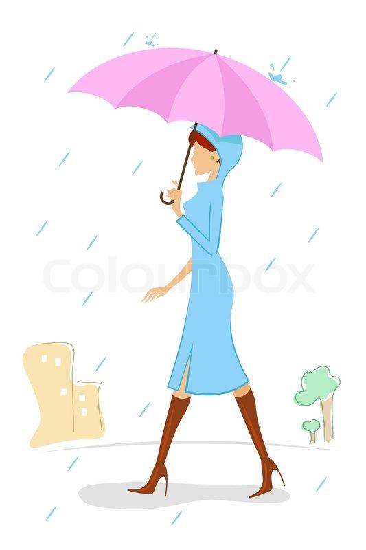 533x800 Illustration Of Vector Kid Holding Umbrella In Rainy Day Stock