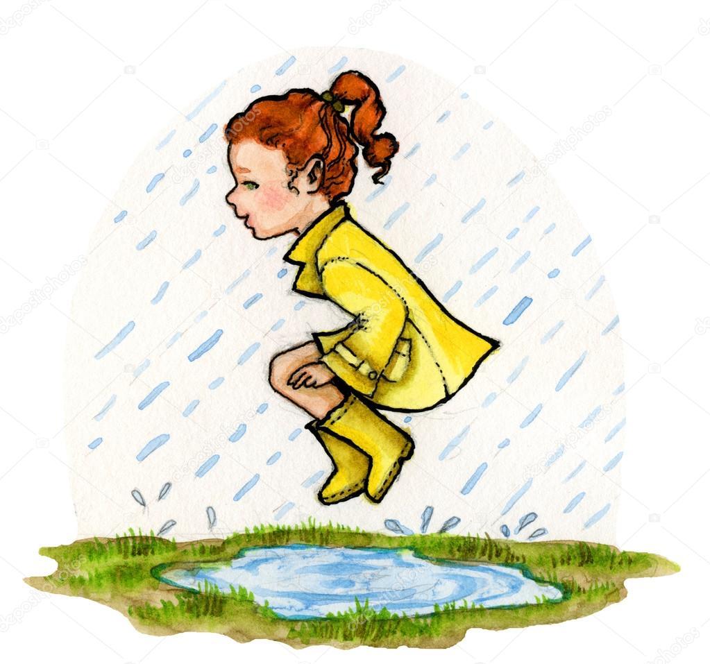 1023x957 Rainy Day Puddle Girl Stock Photo