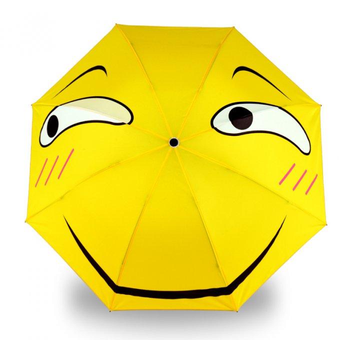 680x680 Yellow Funny Emoji Folding Umbrella For Rainy Day Use