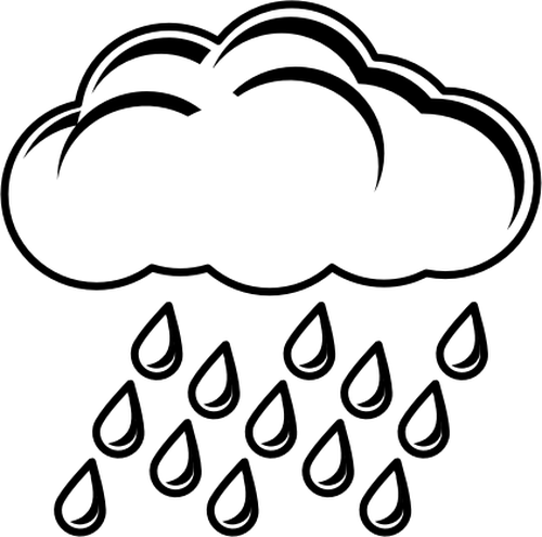 500x495 Clip Art Of Black And White Rainy Day Sign Public Domain Vectors