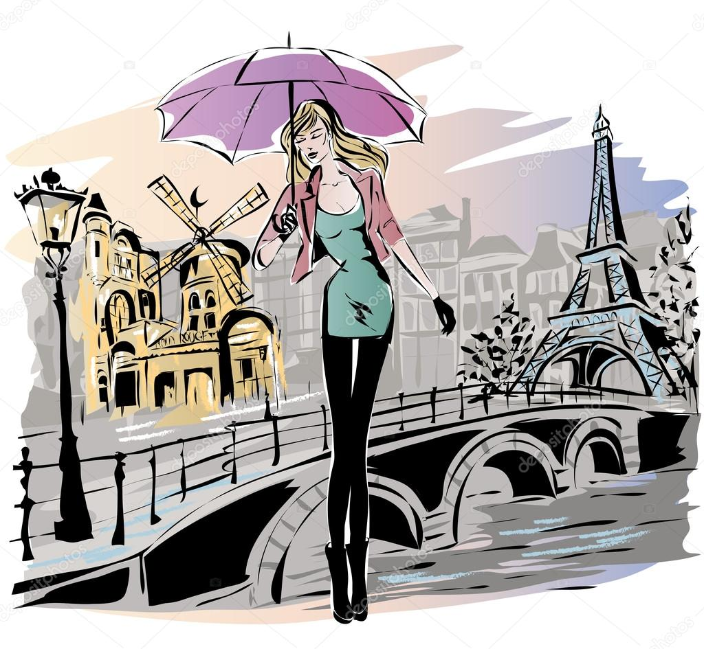 1024x945 Fashion Girl Rainy Day In Paris Stock Vector Sofiapink