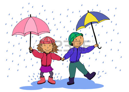 450x321 Two Little Girls In The Rain Royalty Free Cliparts, Vectors,