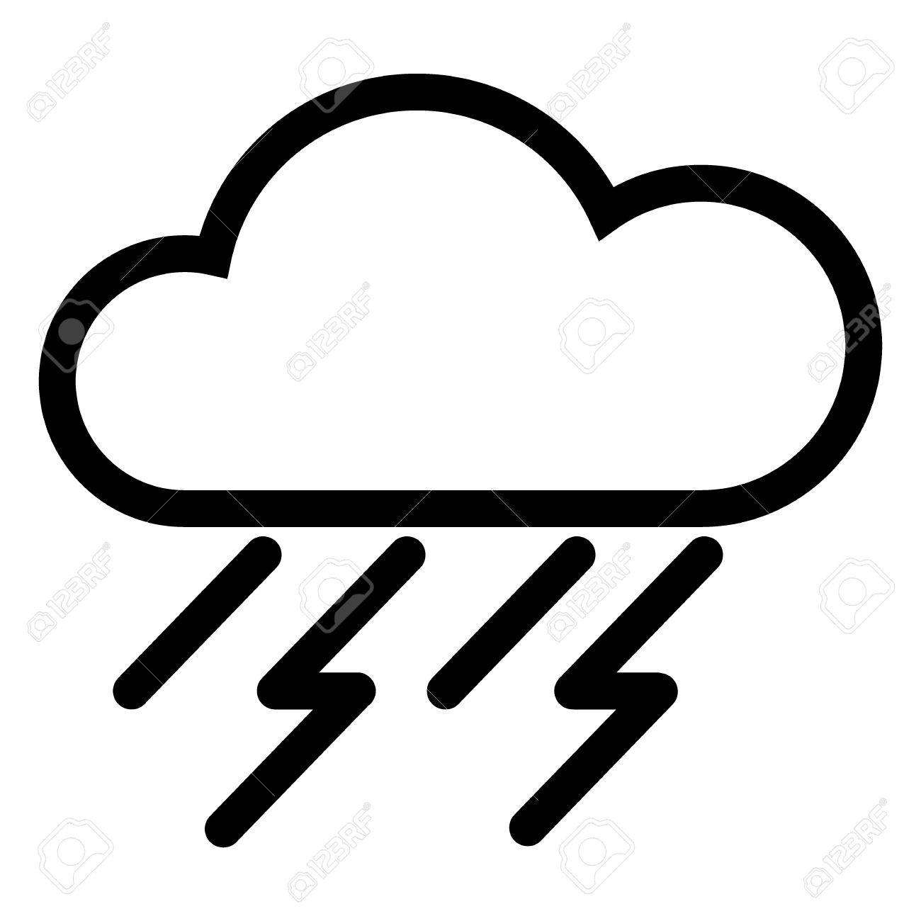 1300x1300 Black And White Weather Web Icon With Cloud, Rain Stock Photo