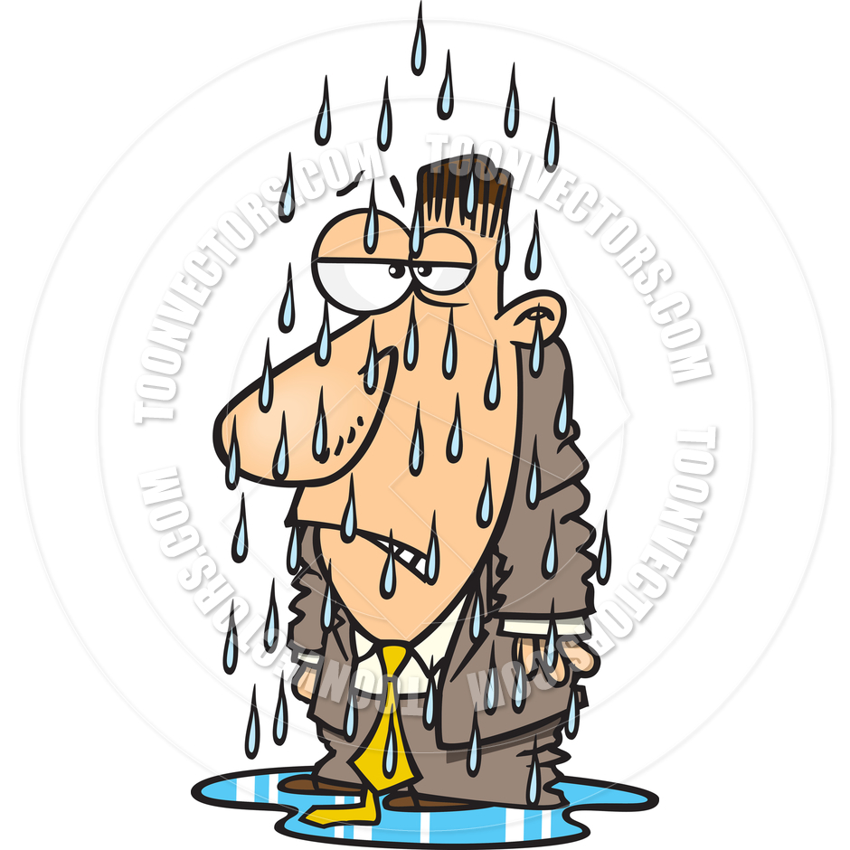 940x940 Cartoon Man Getting Soaked In The Rain By Ron Leishman Toon