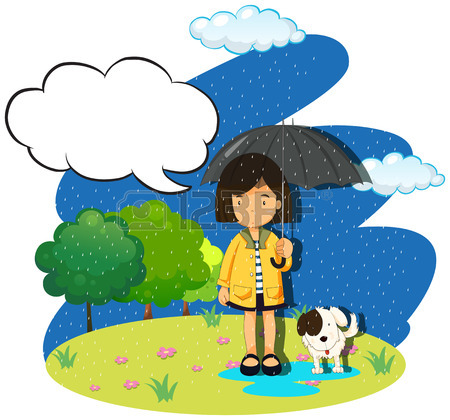 450x420 Rainy Season With Three Kids In The Rain Illustration Royalty Free