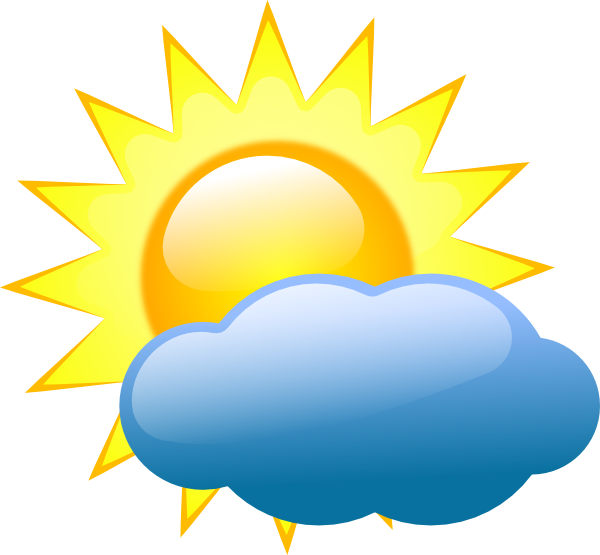 600x555 Sun Behind Cloud With Rain Clipart