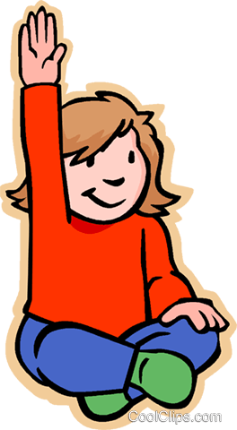 264x480 Girl With Raised Hand Asking Question Royalty Free Vector Clip Art