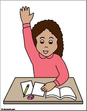 304x390 Girl Raising Her Hand In Class Clip Art (Color) Abcteach
