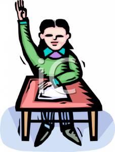 227x300 Girl Sitting At Her Desk Raising Her Hand Clip Art Image