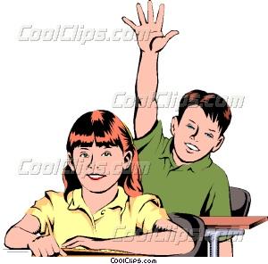 300x296 Student Raising Hand Vector Clip Art