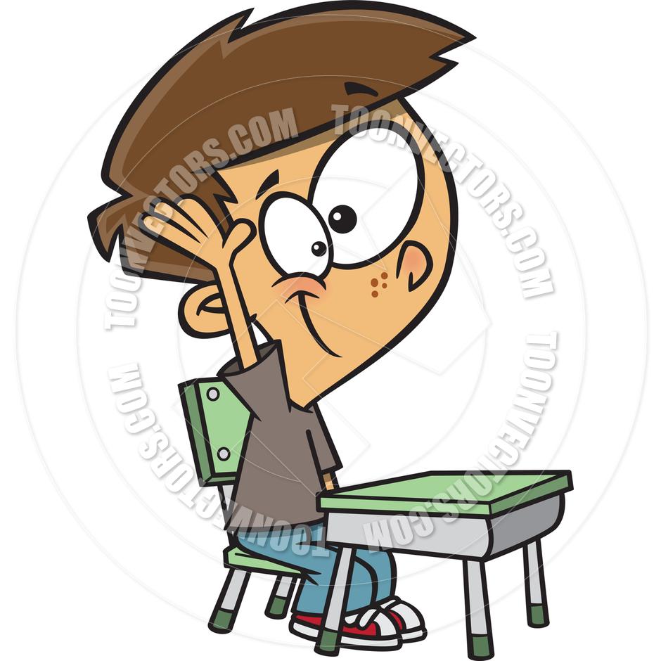 940x940 Cartoon Boy Raising His Hand In Class By Ron Leishman Toon