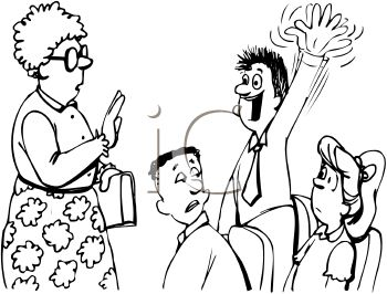 350x266 Black And White Cartoon Of An Excited Boy Raising His Hand
