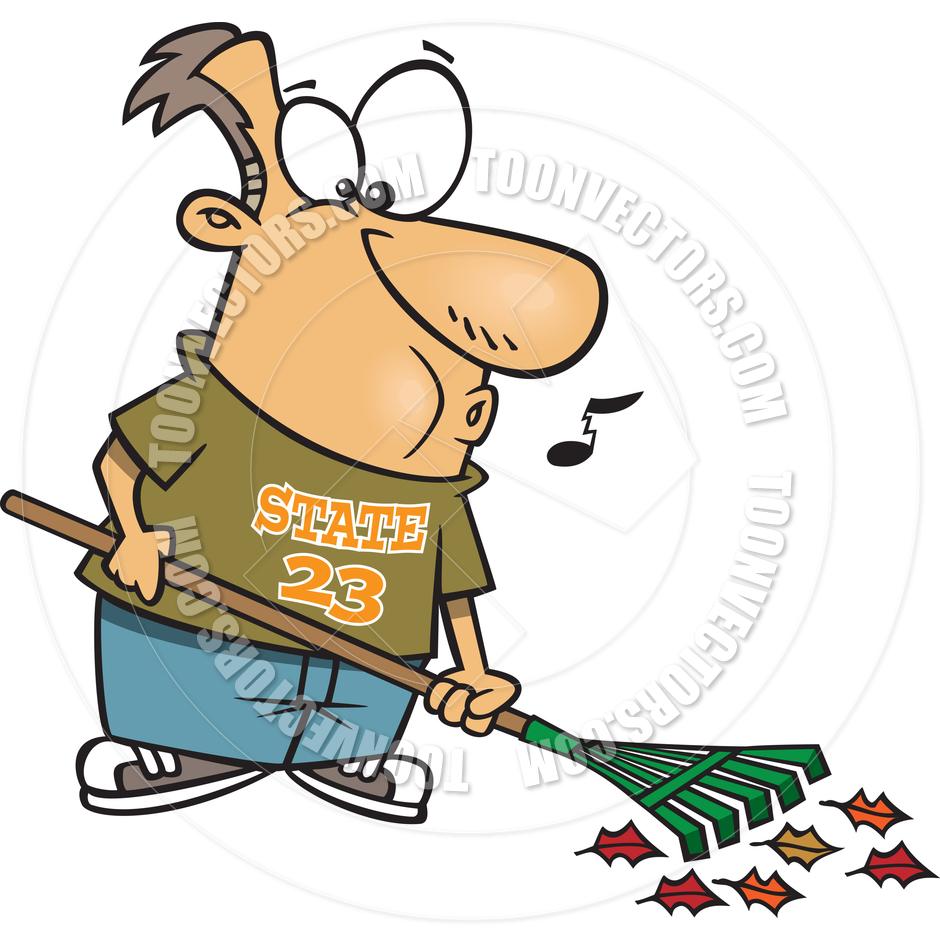 940x940 Cartoon Happy Man Raking Leaves By Ron Leishman Toon Vectors Eps