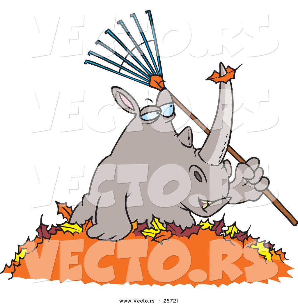 1024x1044 Vector Of A Cartoon Rhino Holding A Rake In A Pile Of Autumn