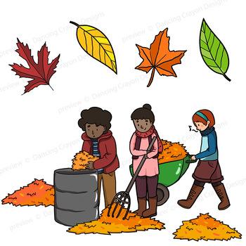 350x350 Autumn Fall Clip Art Kids By Dancing Crayon Designs Tpt