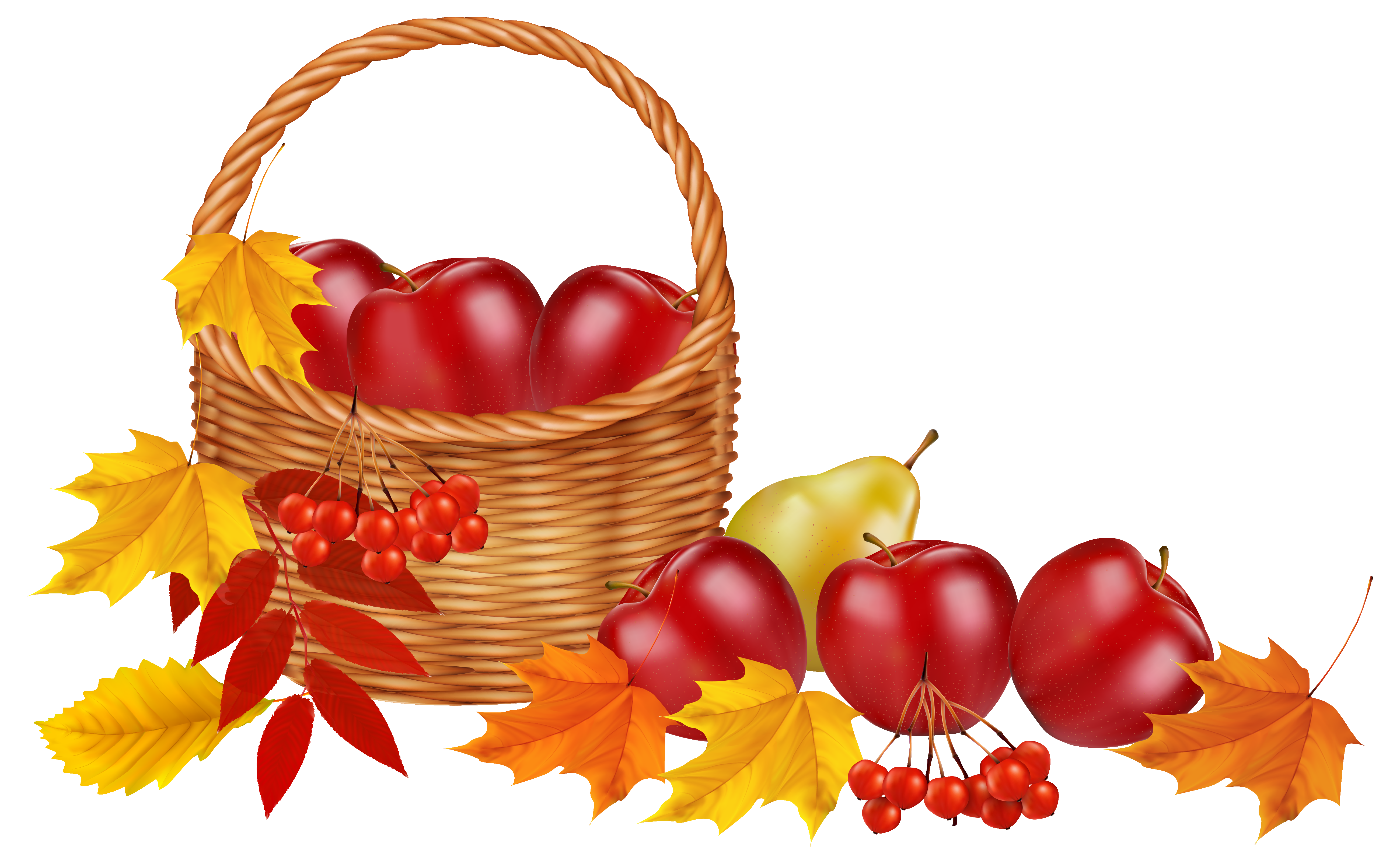 5199x3209 Basket Clipart Leaves