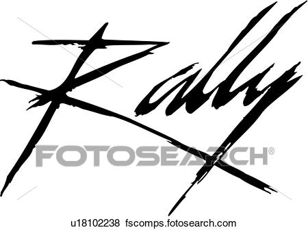 450x336 Clip Art Of , Drybrush, Lettering, Rally, Sign, Sign Co Word