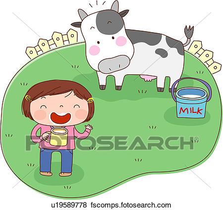 450x424 Stock Illustration Of Milk, Ranch, Milk Cow, Fence, Medow, Holding