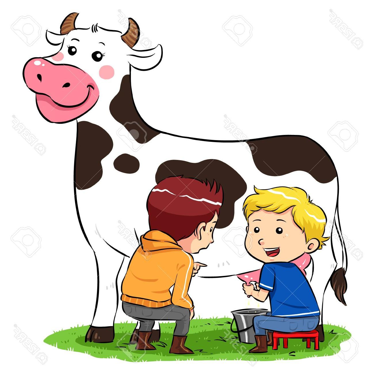1300x1300 Top Milking Cow Children In Ranch Farm Stock Vector Drawing