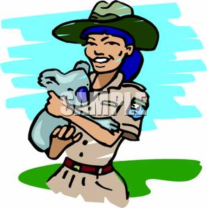 298x300 Free Clipart Image A Smiling Park Ranger Holding A Cuddly Koala