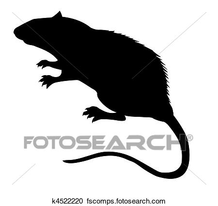 450x425 Clipart Of Vector Silhouette Of The Rat On White Background
