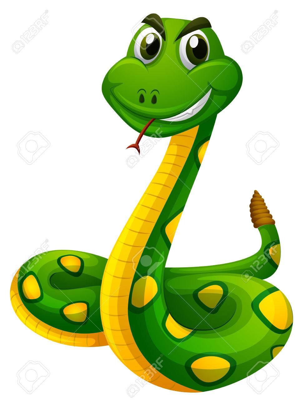 971x1300 Rattle Snake On White Background Illustration Royalty Free