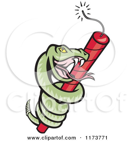 450x470 Clipart Of A Cartoon Rattle Snake Coiled Around Dynamite