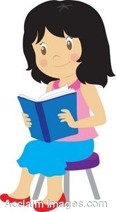 165x300 Clip Art Of A Young Girl Reading A Book