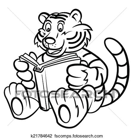 450x465 Clipart Of Tiger Kid Read A Book K21784642