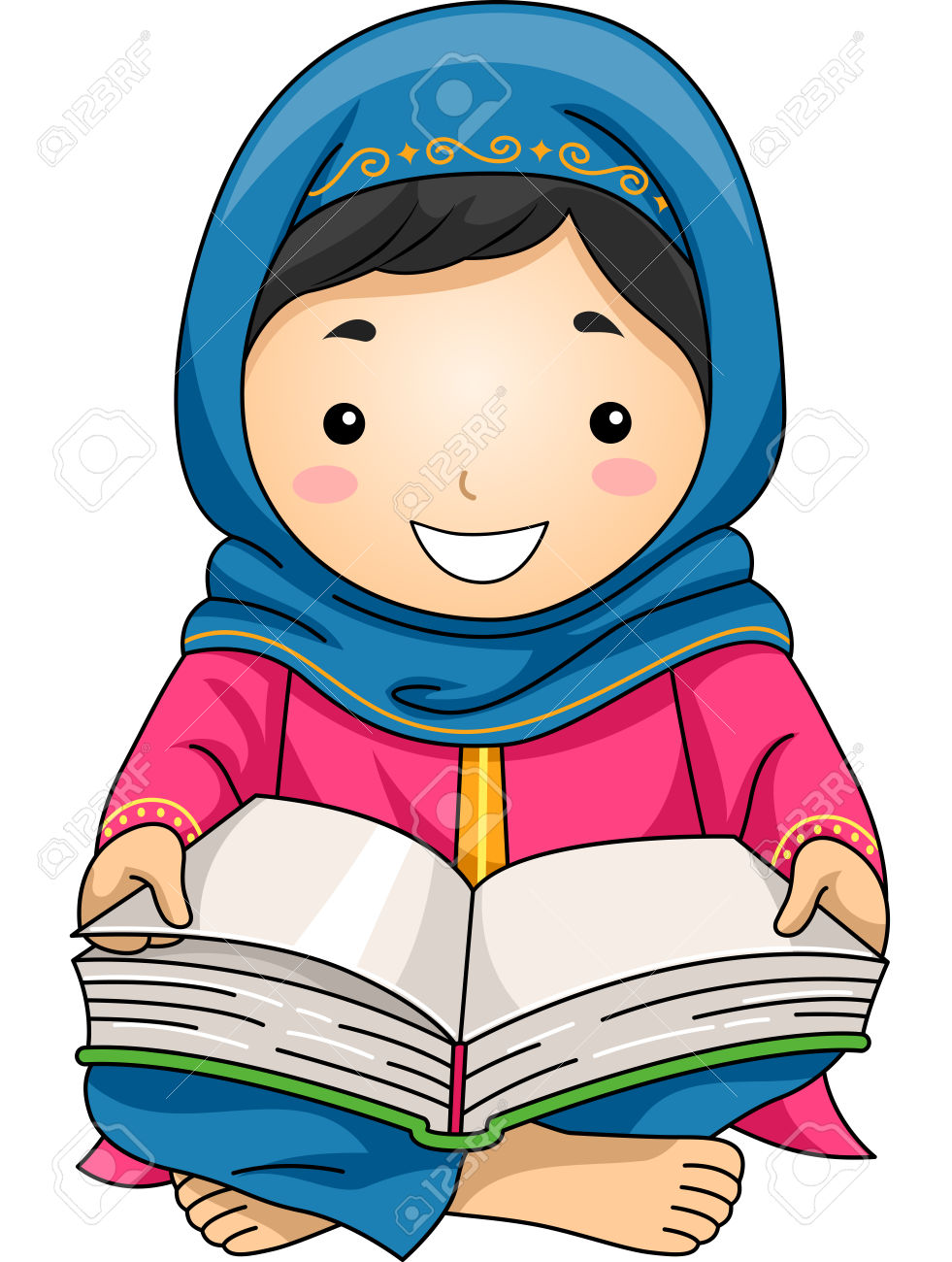 981x1300 Girl Reading Quran Clipart
