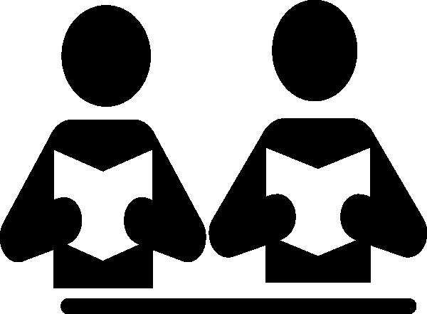600x441 Partner Reading Simple Clip Art