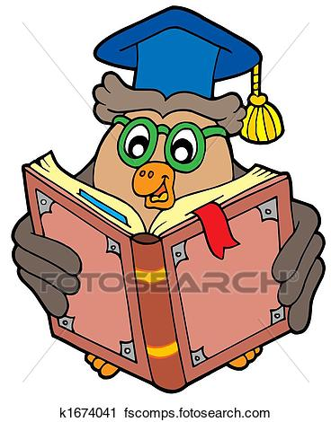 368x470 Clipart Of Owl Teacher Reading Book K1674041