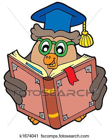 368x470 Clipart Of Owl Teacher Reading Book K1674041