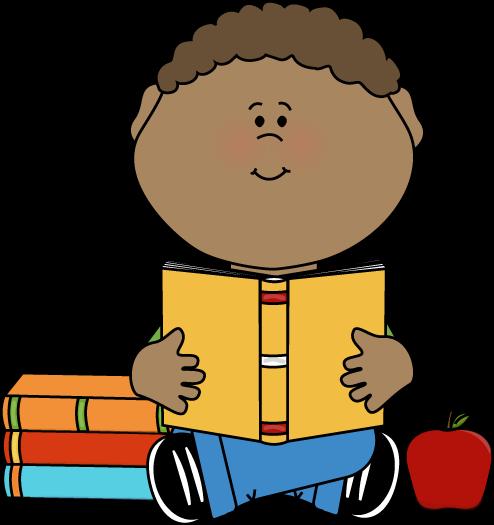 494x525 Little Boy Reading A School Book Clip Art