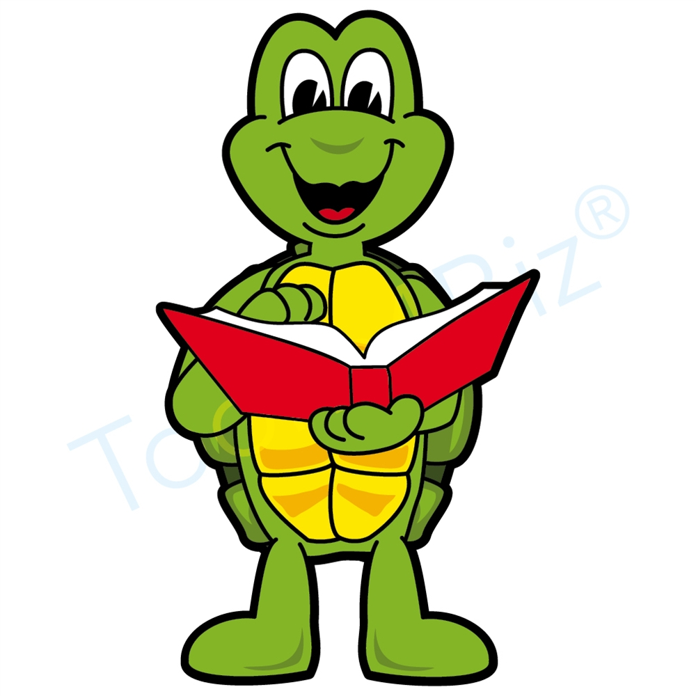 1000x1000 Turtle Mascot Reading Book Clip Art