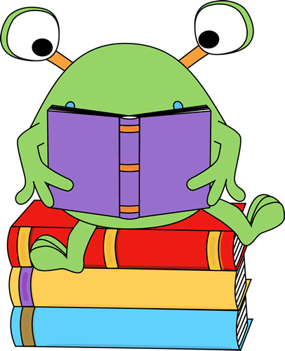 406x500 Two Eyed Monster Reading A Book Clip Art