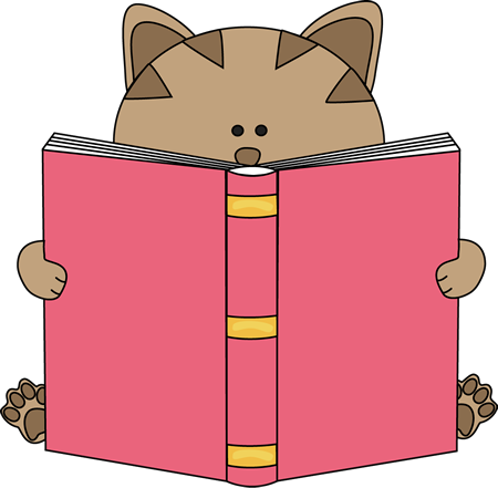 450x441 Cat Reading Book Clip Art