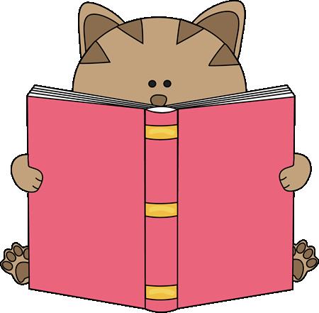450x441 Cat Reading Book Clip Art