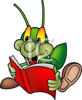 286x350 Royalty Free Clip Art Image Cartoon Cricket Reading A Book