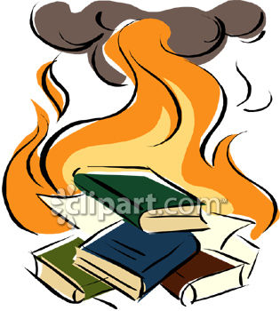 315x350 A Book Burning With Books On Fire