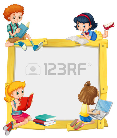 382x450 Girl Reading Book And Bubble Template Illustration Royalty Free