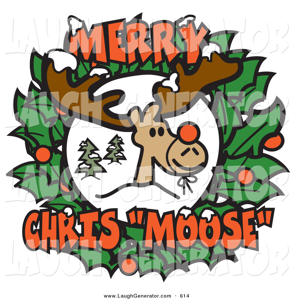 1024x1044 Humorous Clip Art Of A Smiling Reindeer With A Red Nose Tied On