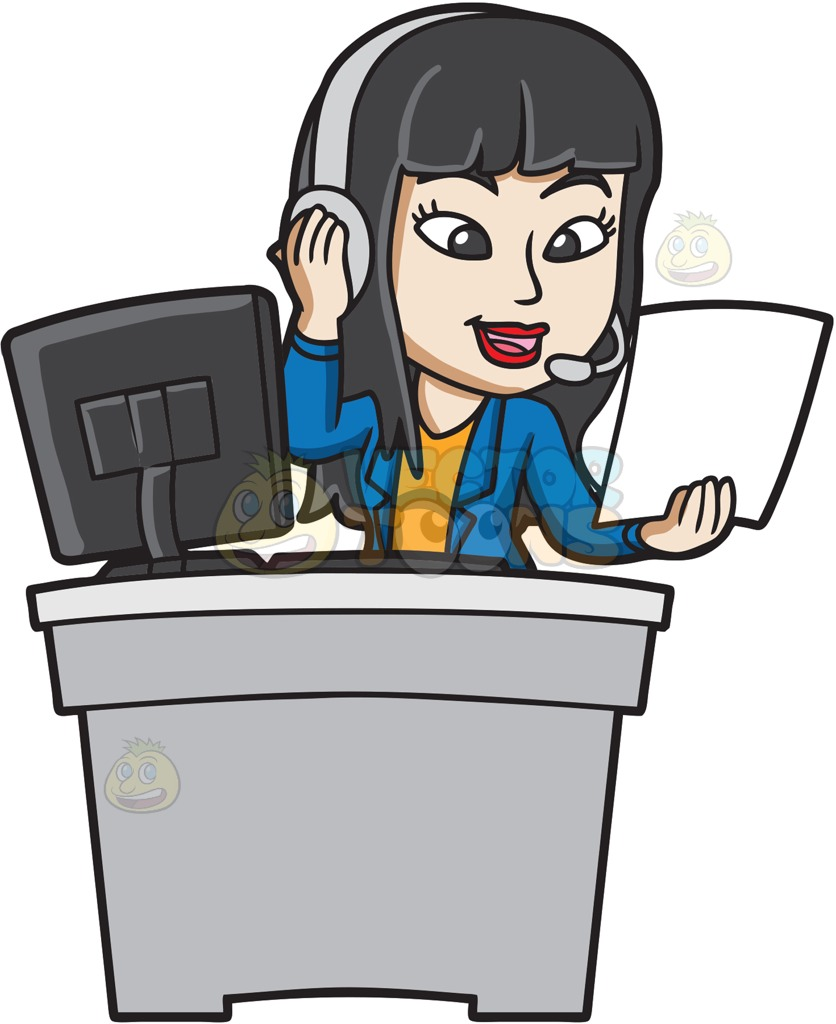 836x1024 A Female Call Center Agent Reading Notes Cartoon Clipart