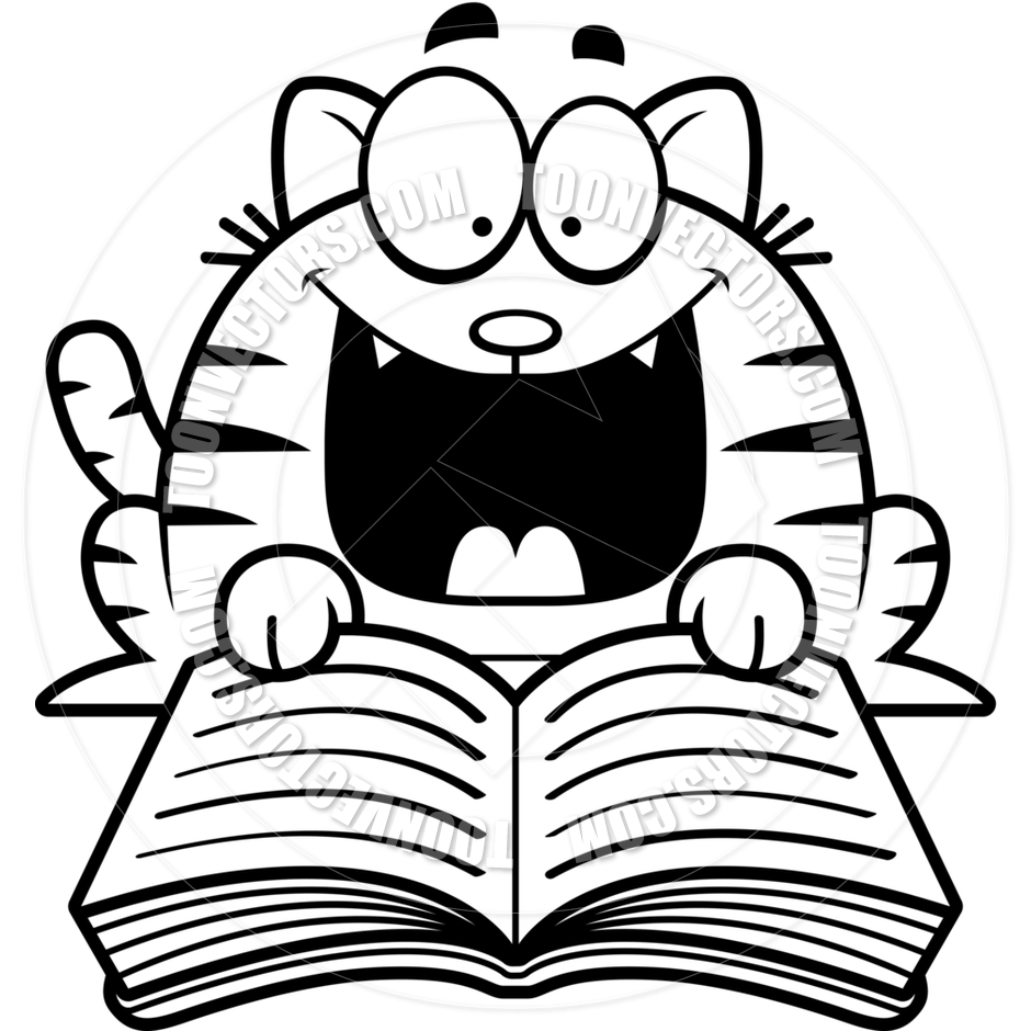 940x940 Cartoon Little Cat Reading (Black And White Line Art) By Cory