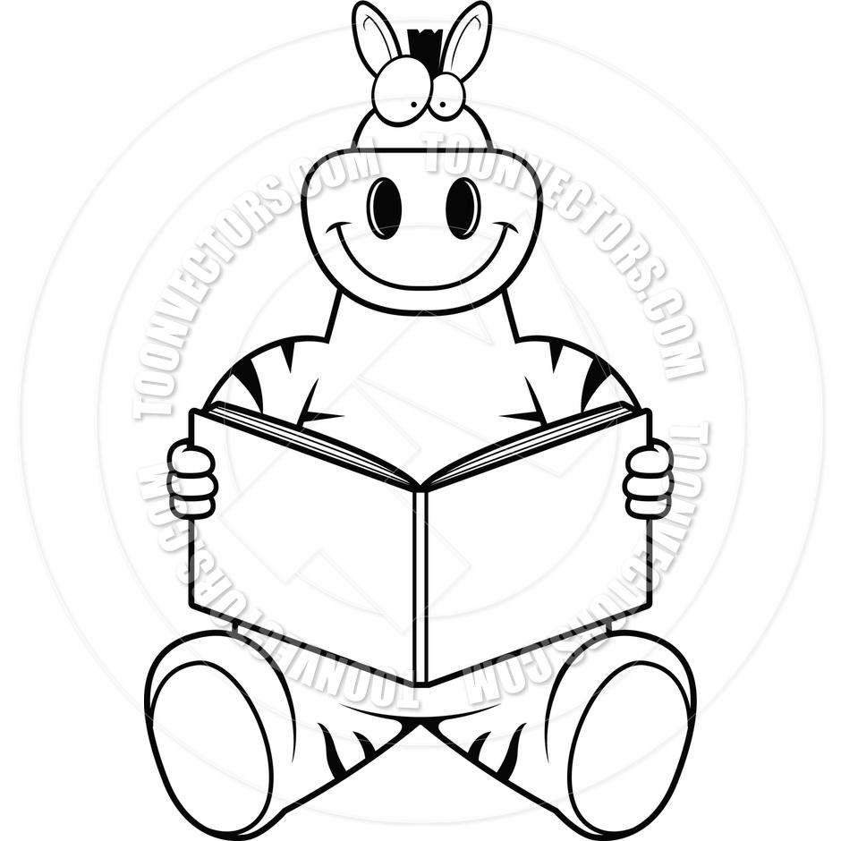 940x940 Cartoon Zebra Reading (Black And White Line Art) By Cory Thoman