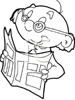 263x350 Clip Art Outline Of A Balding Man Reading A Newspaper