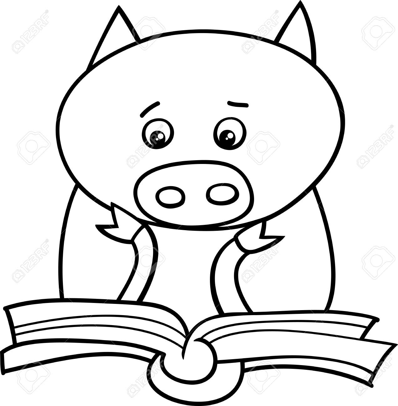 1272x1300 Black And White Cartoon Illustration Of Funny Pig Animal Character